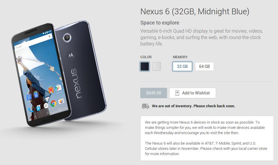 Nexus 6 32GB a Google Play