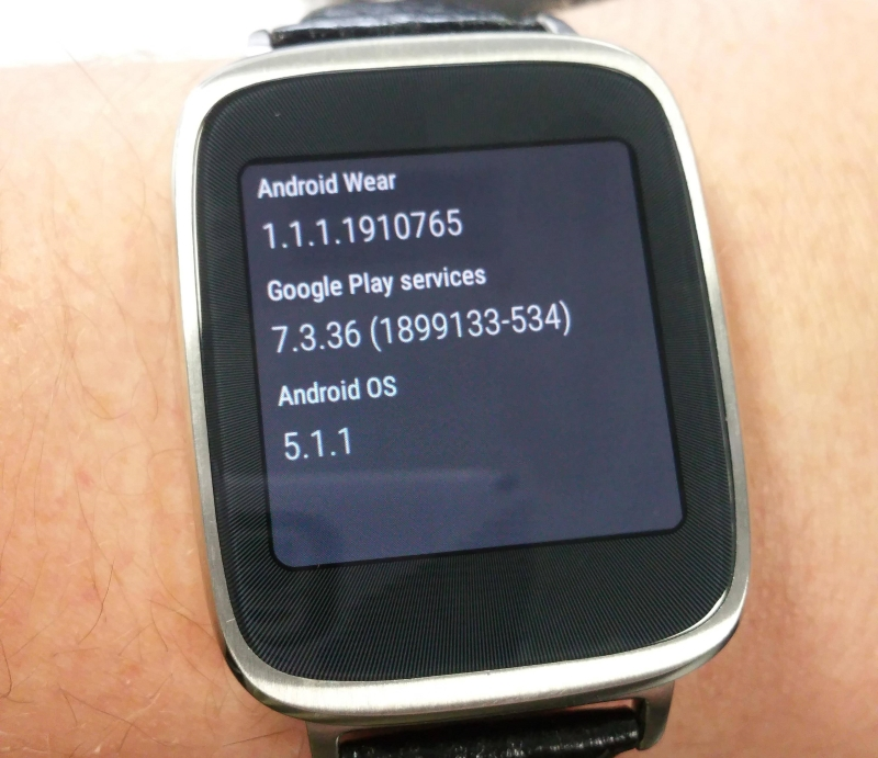 Asus Zenwatch with Android 5.1.1