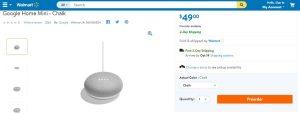 Google Home Mini listing at Walmart