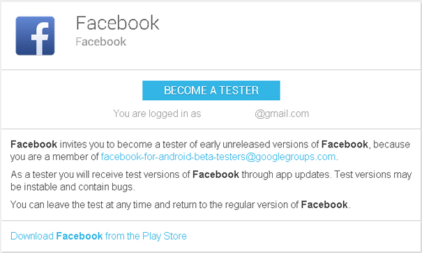 Facebook for Android beta-testing
