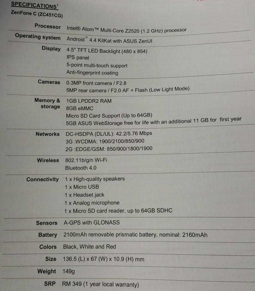 Asus Zenfone C specs