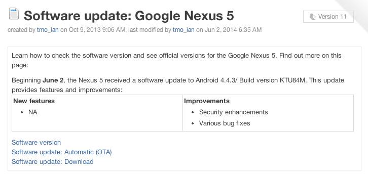 Nexus 5 Android 4.4.3 update