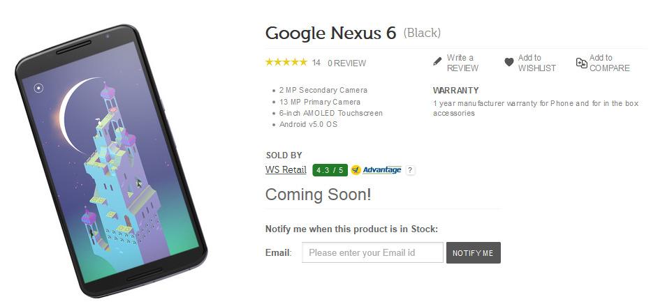 Google Nexus 6 at Flipkart