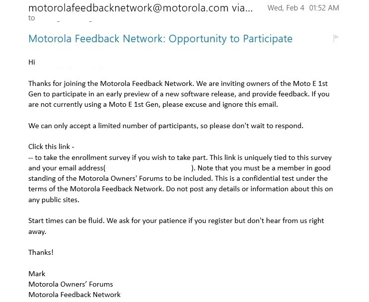 Moto E soak test emails