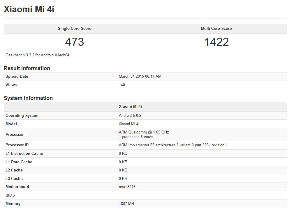 Xiaomi Mi 4i in Geekbench