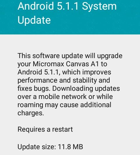 Micromax Canvas A1 Android 5.1.1 update