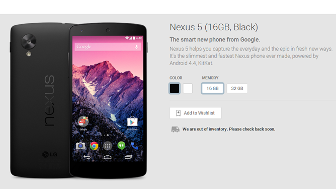 Nexus 5 Google Play