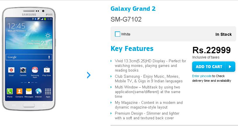 Samsung Galaxy Grand 2 Listing