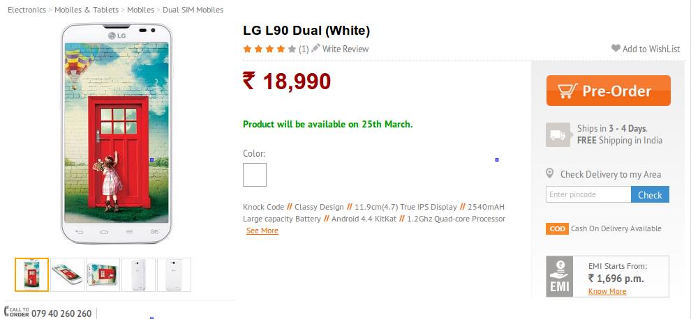 LG L90 Dual India