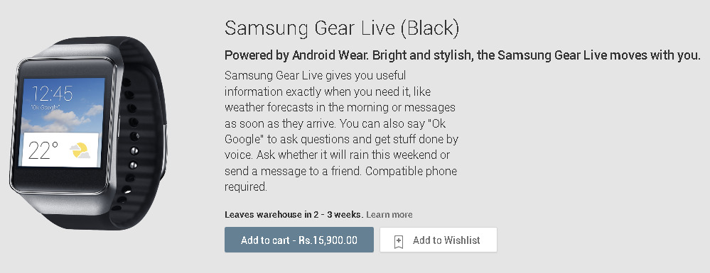 Samsung Gear Live at Google Play