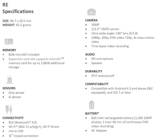 HTC Re specs