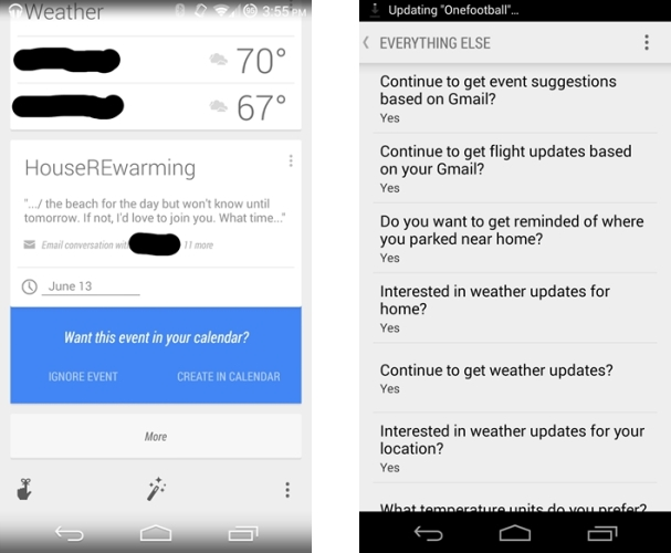 Event Suggestions in Google Now