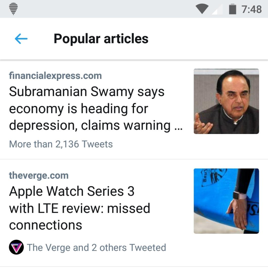 Twitter popular articles