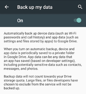 Android M App Data Backup