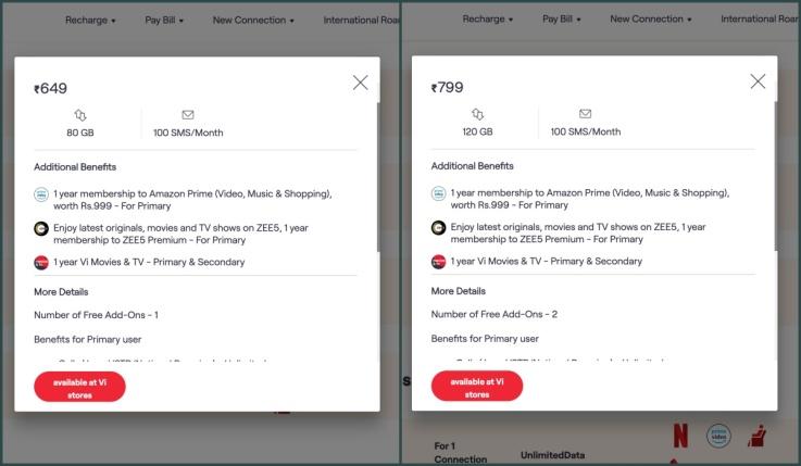 Vodafone Idea 649 799 postpaid family plans