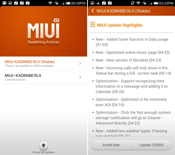 Mi 3 MIUI KDDMIBE 18.0 update