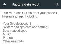 Factory reset in Android