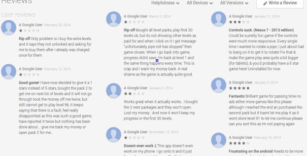Google Play reviews