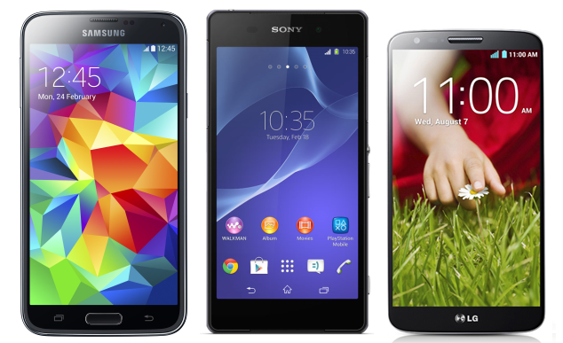 Samsung Galaxy S5, Xperia Z2 and LG G2