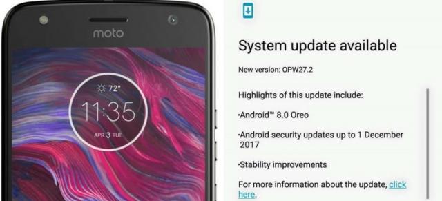 Moto X4 Oreo update