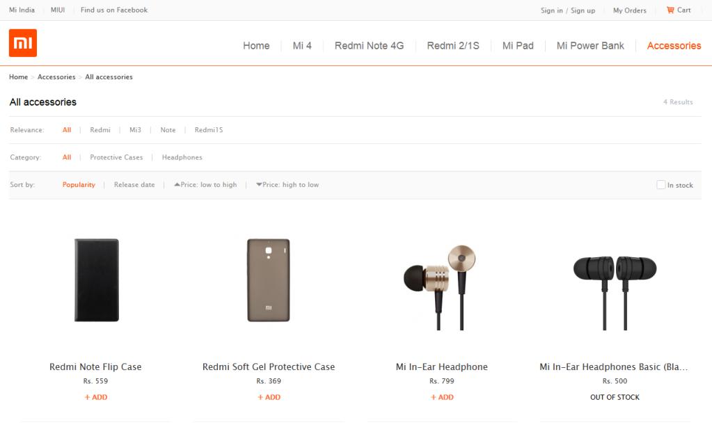 Xiaomi web store in India
