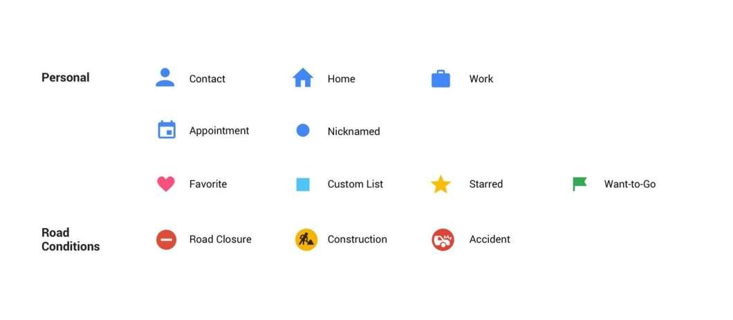 Google Maps new icons