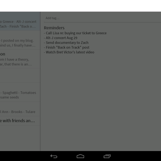 SimpleNote Android app