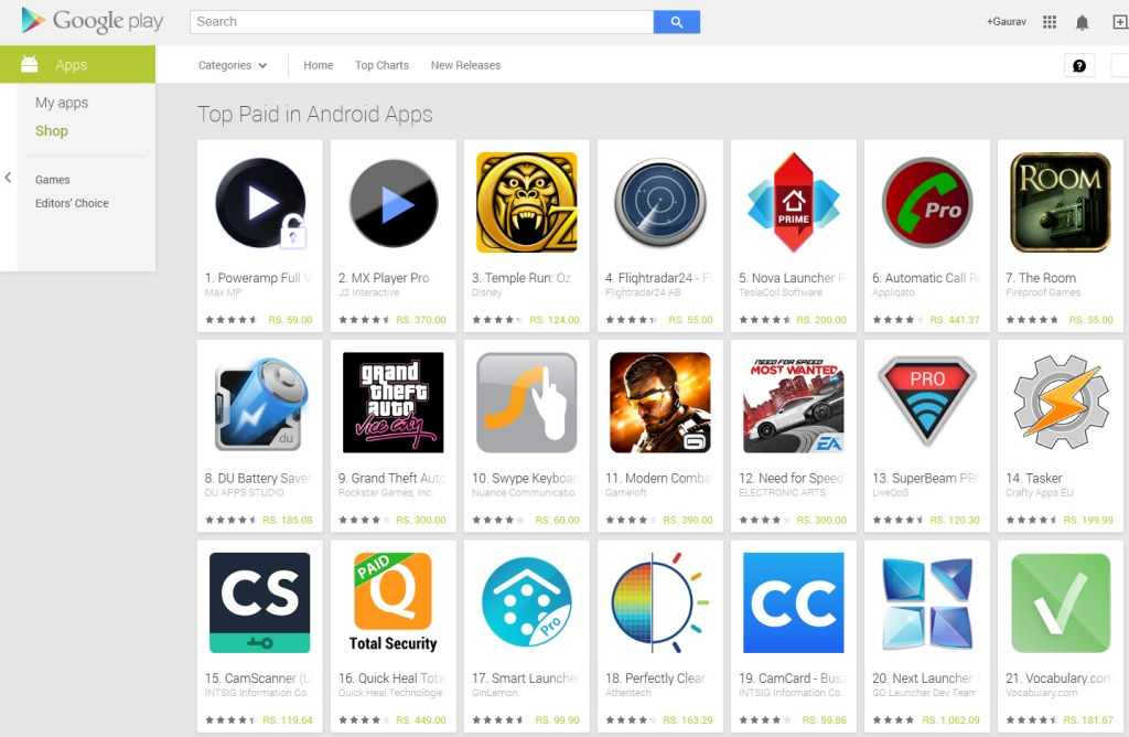 Paid apps at Google Play