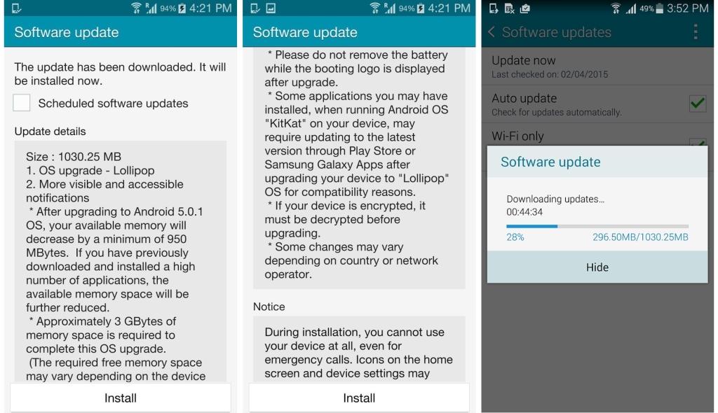 Samsung Galaxy Note 4 Lollipop update