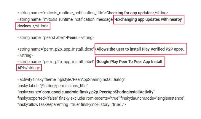 Google Play Store peer-to-peer app update