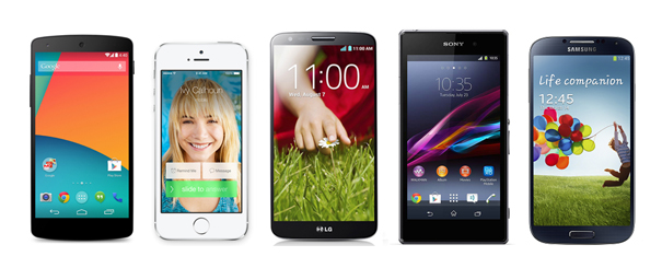 Nexus 5 vs Apple iPhone 5s, Galaxy S4, LG G2 and Xperia Z1